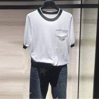 T-shirt White, purple 2 / s, 3 / m, 4 / L, 5 / XL Summer 2021 Short sleeve Crew neck Self cultivation Regular routine commute cotton 86% (inclusive) -95% (inclusive) Ol style O'amash banner