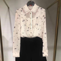 shirt Off white 2 / s, 3 / m, 4 / L, 5 / XL Spring 2021 other 96% and above Long sleeves Versatile Regular stand collar Single row multi button routine Broken flowers Straight cylinder Pinge Dixin Chiffon