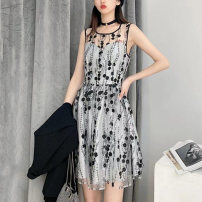 Dress Summer 2021 black 2 / s, 3 / m, 4 / L, 5 / XL Middle-skirt singleton  Sleeveless commute Crew neck middle-waisted Dot Socket other routine Others Type A Pinge Dixin Ol style More than 95% polyester fiber
