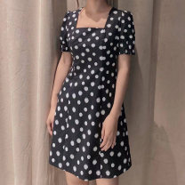 Dress Summer 2021 black 2 / s, 3 / m, 4 / L, 5 / XL Middle-skirt singleton  Short sleeve commute square neck middle-waisted Dot Socket A-line skirt routine Others Type A O'amash banner Ol style More than 95% cotton