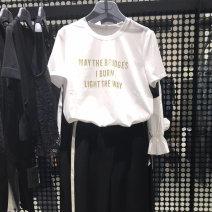 T-shirt White, black 2 = s, 3 = m, 4 = L, 5 = XL Summer 2021 Short sleeve Crew neck Self cultivation Regular routine commute cotton 71% (inclusive) - 85% (inclusive) Simplicity letter O'amash banner