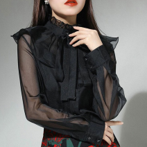 shirt black 2 / s, 3 / m, 4 / L, 5 / XL Spring 2021 polyester fiber 96% and above Long sleeves Versatile Regular Lotus leaf collar Single row multi button routine Solid color Straight cylinder Pinge Dixin