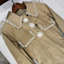 Windbreaker Spring 2020 S,M,L New Khaki Long sleeves Thin money commute double-breasted square neck routine Solid color Straight cylinder Britain Sisweety / sister 14 30-34 years old 96% and above wool wool