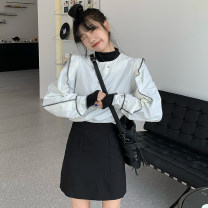 skirt Autumn 2020 XS,S,M,L black Short skirt commute High waist A-line skirt Solid color Type A 18-24 years old Splicing Korean version