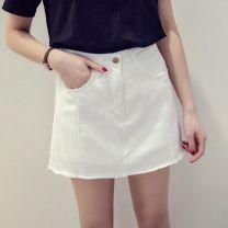 skirt Summer 2017 L [110-120 Jin], m [100-110 Jin], 5XL [recommended 175-200 Jin], XL [120-135 Jin], 2XL [135-150 Jin], 4XL [165-175 Jin], 3XL [150-165 Jin], s [90-100 Jin] White 6686, blue 6686 Short skirt commute High waist Denim skirt Solid color Type A 18-24 years old Denim cotton Korean version