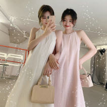 Dress Other / other White, pink, blue, black M,L,XL,XXL Korean version Sleeveless have more cash than can be accounted for summer Solid color Chiffon 021 summer wear