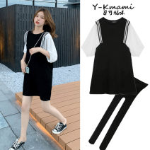 Dress Pregnant Black dress, black dress + black safety pants, black safety pants M,L,XL,XXL Korean version Short sleeve Medium length summer Crew neck Chiffon 6129#