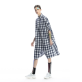 Dress Summer 2020 Blue and white check S,M,L Mid length dress singleton  elbow sleeve commute other Loose waist lattice Single breasted other other Others 30-34 years old Type H Heartidea / Fangcun creative literature Pocket, button More than 95% other cotton