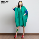 Dress Autumn 2016 Green, blue M, L Mid length dress singleton  elbow sleeve Sweet V-neck Loose waist Solid color Socket other other Others 25-29 years old Type O Heartidea / Fangcun creative pocket 91% (inclusive) - 95% (inclusive) other hemp college