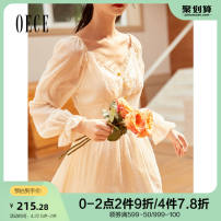 Dress Autumn 2020 Apricot XS S M L Middle-skirt singleton  Long sleeves commute V-neck Solid color bishop sleeve 25-29 years old Oece lady 203FS217 More than 95% other Other 100% Same model in shopping mall (sold online and offline)