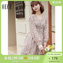 Dress Spring 2021 Beige XS S M L Short skirt singleton  Long sleeves commute V-neck Broken flowers Socket bishop sleeve Others 25-29 years old Oece lady 211HS263 More than 95% other Other 100% Same model in shopping mall (sold online and offline)