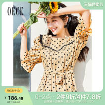 Dress Summer 2021 Zhonghuang XS S M L Short skirt singleton  Short sleeve commute tailored collar High waist Dot Single breasted routine 25-29 years old Oece lady 2I2HS088 More than 95% other Other 100% Same model in shopping mall (sold online and offline)