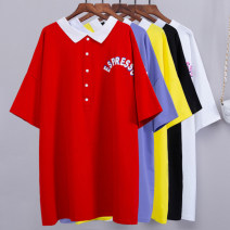 T-shirt White, red, black, yellow, purple, pink Average size Summer 2020 Short sleeve Polo collar easy Medium length routine commute cotton 96% and above Korean version youth Printing, tie dyeing, stitching