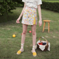 skirt Summer of 2019 S, M Coral Orange + warm yellow Short skirt Retro High waist A-line skirt Big flower Type A 18-24 years old More than 95% other MintCheese polyester fiber