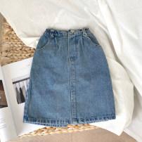 skirt 90cm,100cm,110cm,120cm,130cm,140cm blue UOINUOM female Other 100% winter skirt Korean version Solid color A-line skirt Denim w8332