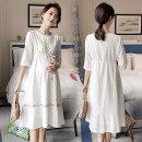 Dress Other / other White medium sleeve, white short sleeve M,L,XL,XXL,XXXL Korean version three quarter sleeve Medium length summer other shape Pure cotton (95% and above) A1017