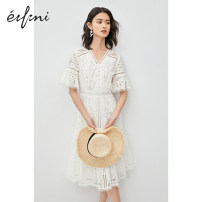 Dress Summer 2020 White spot white pre-sale 155/80A/S 160/84A/M 165/88A/L 170/92A/XL longuette singleton  Short sleeve commute V-neck High waist Solid color Socket A-line skirt other 25-29 years old Type X Eifini  Simplicity 1B4993871-1 51% (inclusive) - 70% (inclusive) cotton