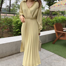 Dress Spring 2021 White, yellow, black S,M,L Mid length dress singleton  Long sleeves V-neck High waist Solid color Type A