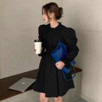 Dress Spring 2021 Black, light card Average size Mid length dress singleton  Long sleeves Crew neck High waist Solid color A-line skirt puff sleeve Type A