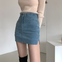 skirt Spring 2020 S,M,L Blue, black Short skirt Versatile High waist corduroy
