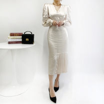 Dress Spring 2021 Apricot, black S, M Mid length dress singleton  Long sleeves commute V-neck High waist Solid color Socket Pleated skirt puff sleeve Others 18-24 years old Type A Korean version 51% (inclusive) - 70% (inclusive)