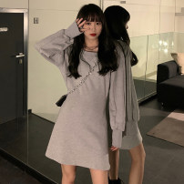 Dress Spring 2021 grey Average size Middle-skirt singleton  Long sleeves commute Crew neck High waist Solid color 18-24 years old Type A Korean version 81% (inclusive) - 90% (inclusive) cotton