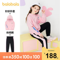 suit Bala 120cm 130cm 140cm 150cm 160cm 165cm female spring and autumn leisure time Long sleeve + pants 2 pieces routine There are models in the real shooting Zipper shirt No detachable cap Cartoon animation Cotton blended fabric Class B Spring 2021 Chinese Mainland