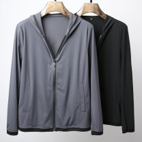 Jacket Longfield Vuitton Fashion City Gray, black M,L,XL,2XL,3XL thin Self cultivation Other leisure autumn DX304 Polyamide fiber (nylon) 92% polyurethane elastic fiber (spandex) 8% Long sleeves Wear out Hood Business Casual youth routine Zipper placket 2018 Rib hem Closing sleeve Solid color