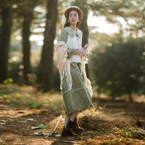 Dress Winter 2020 Off white (VEST), green (green belt for dress) S,M,L Mid length dress Two piece set Long sleeves commute Lotus leaf collar middle-waisted Solid color Socket Princess Dress other Others 25-29 years old Type X Huajian clothes literature LT3182 More than 95% other polyester fiber