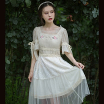 Dress Summer 2020 Apricot S,M,L,XL Mid length dress singleton  Short sleeve commute square neck middle-waisted Solid color Socket Pleated skirt Flying sleeve Others 25-29 years old Type X Huajian clothes literature LT2716 More than 95% Chiffon polyester fiber