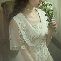 Dress Summer 2020 Peony white S,M,L,XL longuette singleton  Short sleeve commute V-neck middle-waisted other zipper Princess Dress Princess sleeve Others 25-29 years old Type X Huajian clothes Retro More than 95% Chiffon Cellulose acetate