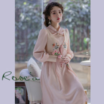 Dress Spring 2021 Light orange pink S,M,L,XL Mid length dress singleton  Long sleeves commute Doll Collar Loose waist Solid color Socket Princess Dress pagoda sleeve Others 25-29 years old Type X Huajian clothes literature LT3327 More than 95% Chiffon polyester fiber