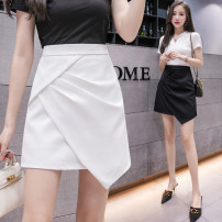 skirt Summer 2021 S,M,L,XL White, black Short skirt Versatile High waist A-line skirt Solid color Type A 25-29 years old 81% (inclusive) - 90% (inclusive) other nylon Pleating, asymmetry, zipper 401g / m ^ 2 (inclusive) - 500g / m ^ 2 (inclusive)