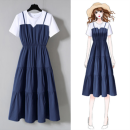 Dress Summer 2021 Green, blue, black M (recommended below 100 kg), l (recommended 101-110 kg), XL (recommended 111-120 kg), 2XL (recommended 121-130 kg), 3XL (recommended 131-145 kg), 4XL (recommended 146-160 kg) Mid length dress Fake two pieces Short sleeve commute Crew neck High waist Solid color