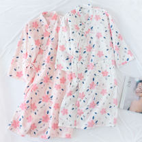 Nightgown / bathrobe Other / other female L, M White flowers, pink flowers Thin money Simplicity cotton summer More than 95% Medium length (knee to Mid Calf) Netting