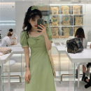 Dress Winter 2016 Purple, green, black S,M,L,XL Mid length dress singleton  Short sleeve commute square neck High waist Solid color Socket A-line skirt puff sleeve Others 18-24 years old Type A Korean version Stitching, lace 51% (inclusive) - 70% (inclusive) other