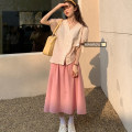 Fashion suit Summer 2021 Average size Pink skirt, blue skirt, pink dot shirt, blue dot shirt 18-25 years old 51% (inclusive) - 70% (inclusive)