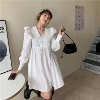 Dress Summer 2021 white Average size Short skirt singleton  Long sleeves commute V-neck High waist Solid color Socket A-line skirt bishop sleeve Others 18-24 years old Type A Other / other Korean version Lotus leaf edge 51% (inclusive) - 70% (inclusive) cotton