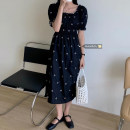 Dress Summer 2021 White, black Average size Mid length dress singleton  Short sleeve commute square neck High waist routine 18-24 years old Korean version printing 51% (inclusive) - 70% (inclusive) cotton