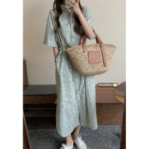 Dress Summer 2021 Apricot, blue Average size Mid length dress singleton  Short sleeve commute Polo collar High waist Single breasted A-line skirt routine 18-24 years old Korean version 51% (inclusive) - 70% (inclusive)