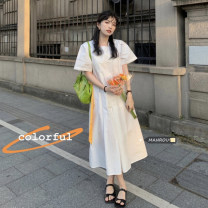 Dress Summer 2021 White, green, blue Average size longuette singleton  Short sleeve commute High waist zipper One pace skirt puff sleeve 18-24 years old Korean version 51% (inclusive) - 70% (inclusive)
