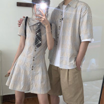 Dress Summer 2021 S. M, l, average size Mid length dress singleton  Short sleeve commute Polo collar High waist lattice Single breasted A-line skirt routine 18-24 years old Type A Korean version 51% (inclusive) - 70% (inclusive) other other