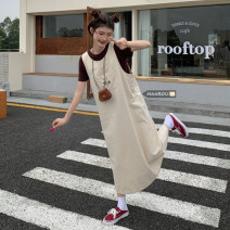 Dress Summer 2021 Coffee short sleeve, apricot vest skirt Average size Mid length dress Two piece set Sleeveless commute square neck High waist Solid color Socket other puff sleeve straps 18-24 years old Type H Korean version 51% (inclusive) - 70% (inclusive) other cotton