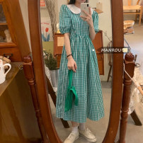 Dress Summer 2021 Picture color Average size Mid length dress singleton  Short sleeve commute Doll Collar High waist A-line skirt routine 18-24 years old Korean version 51% (inclusive) - 70% (inclusive)