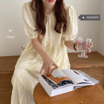 Dress Spring 2021 Cream apricot Average size Mid length dress singleton  Short sleeve commute Crew neck Loose waist Solid color Socket other routine Others 18-24 years old Type H Other / other Korean version 51% (inclusive) - 70% (inclusive) other