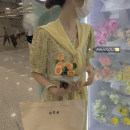 Dress Summer 2021 Yellow skirt + Shawl Average size Mid length dress Two piece set Short sleeve commute Crew neck High waist Solid color Socket A-line skirt bishop sleeve Others 18-24 years old Type A Korean version fold 51% (inclusive) - 70% (inclusive) cotton