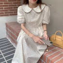 Dress Summer 2021 Apricot, black Average size Mid length dress singleton  Short sleeve commute Doll Collar High waist Dot other 18-24 years old Type A Korean version 51% (inclusive) - 70% (inclusive)