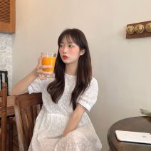 Dress Summer 2021 white Average size Mid length dress singleton  Short sleeve commute Crew neck High waist Solid color A-line skirt puff sleeve 18-24 years old Type A Korean version 51% (inclusive) - 70% (inclusive) cotton