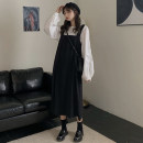 Dress Autumn of 2019 Shirt, suspender, skirt Average size Mid length dress Two piece set Long sleeves commute square neck Loose waist Solid color Socket routine camisole 18-24 years old Other / other Korean version 51% (inclusive) - 70% (inclusive) other