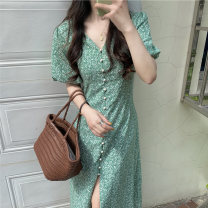 Dress Summer 2021 green Average size Mid length dress singleton  Short sleeve commute V-neck High waist Single breasted A-line skirt routine 18-24 years old Korean version 51% (inclusive) - 70% (inclusive)